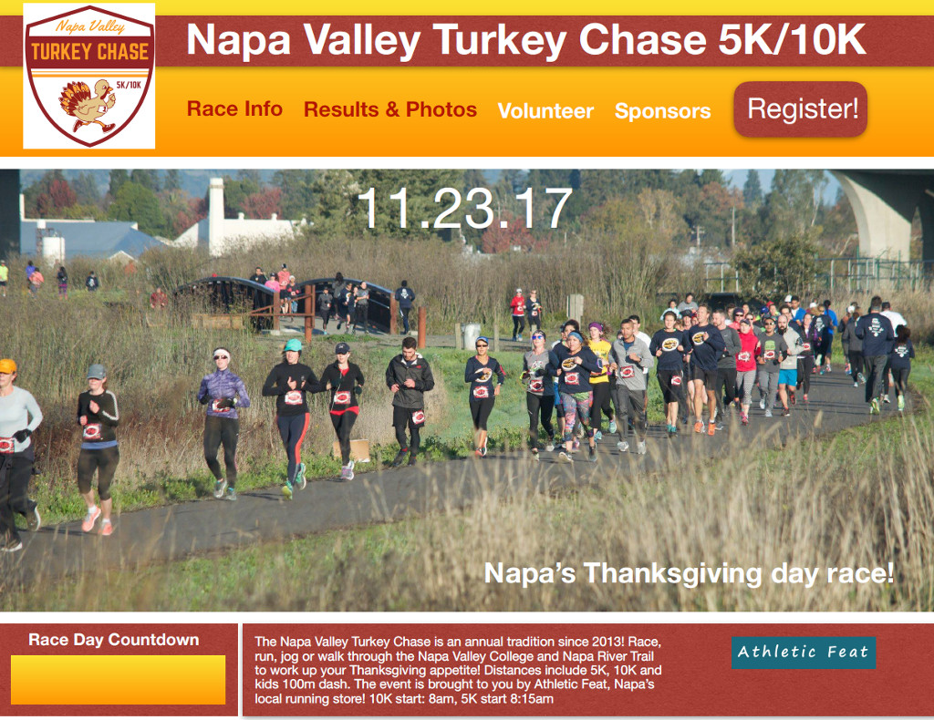 Athletic Feat presents the 2017 Napa Valley Turkey Chase on Thanksgiving morning